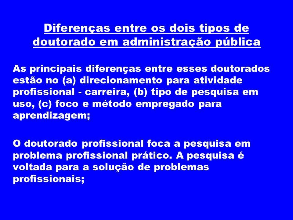 Diferenças entre os dois tipos de doutorado em administração pública As principais diferenças entre esses doutorados estão no (a) direcionamento para