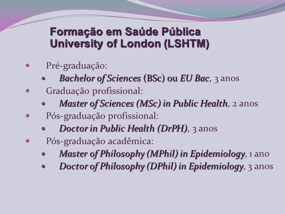 Pré-graduação: Bachelor of Sciences (BSc) ou EU Bac Bachelor of Sciences (BSc) ou EU Bac, 3 anos Graduação profissional: Master of Sciences (MSc) in Public Health Master of Sciences (MSc) in Public Health, 2 anos Pós-graduação profissional: Doctor in Public Health (DrPH) Doctor in Public Health (DrPH), 3 anos Pós-graduação acadêmica: Master of Philosophy (MPhil) in Epidemiology Master of Philosophy (MPhil) in Epidemiology, 1 ano Doctor of Philosophy (DPhil) in Epidemiology Doctor of Philosophy (DPhil) in Epidemiology, 3 anos Formação em Saúde Pública University of London (LSHTM)