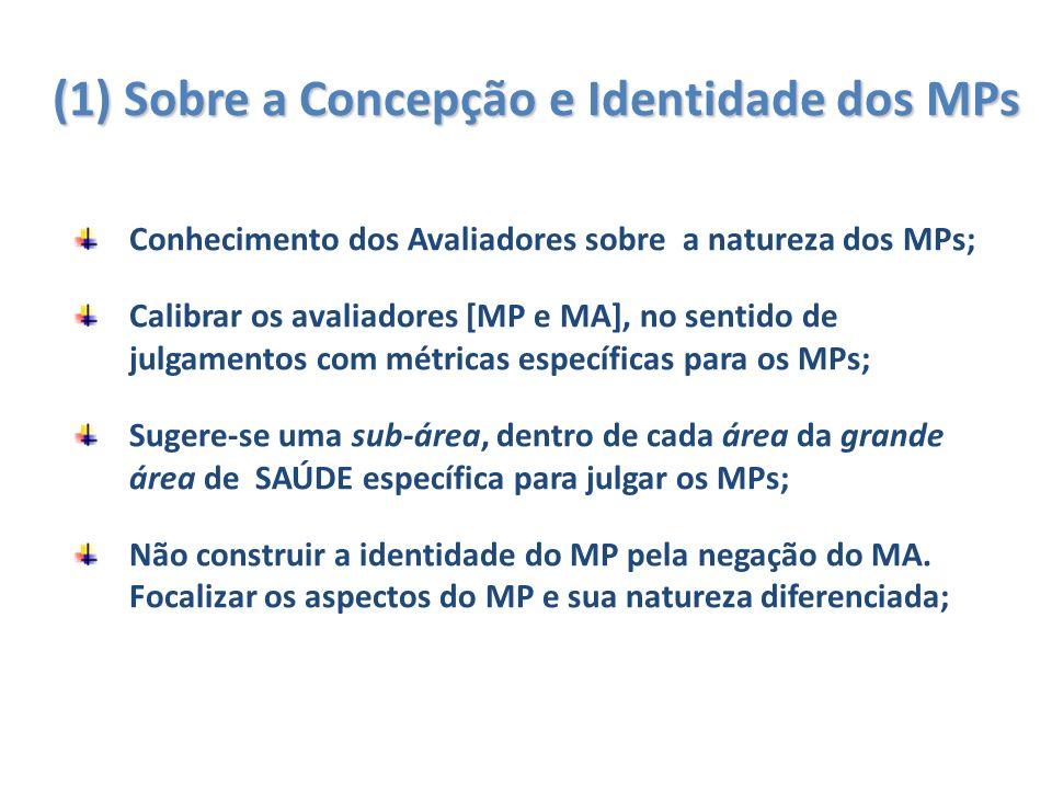 (1) Sobre a Concepção e Identidade dos MPs Conhecimento dos Avaliadores sobre a natureza dos MPs; Calibrar os avaliadores [MP e MA], no sentido de julgamentos com métricas específicas para os MPs; Sugere-se uma sub-área, dentro de cada área da grande área de SAÚDE específica para julgar os MPs; Não construir a identidade do MP pela negação do MA.