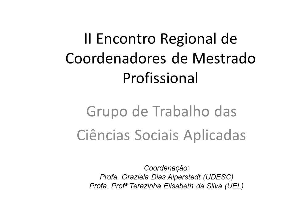 II Encontro Regional de Coordenadores de Mestrado Profissional Grupo de Trabalho das Ciências Sociais Aplicadas Coordenação: Profa.