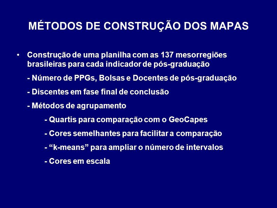 MÉTODOS DE CONSTRUÇÃO DOS MAPAS Construção de uma planilha com as 137 mesorregiões brasileiras para cada indicador de pós-graduação - Número de PPGs,