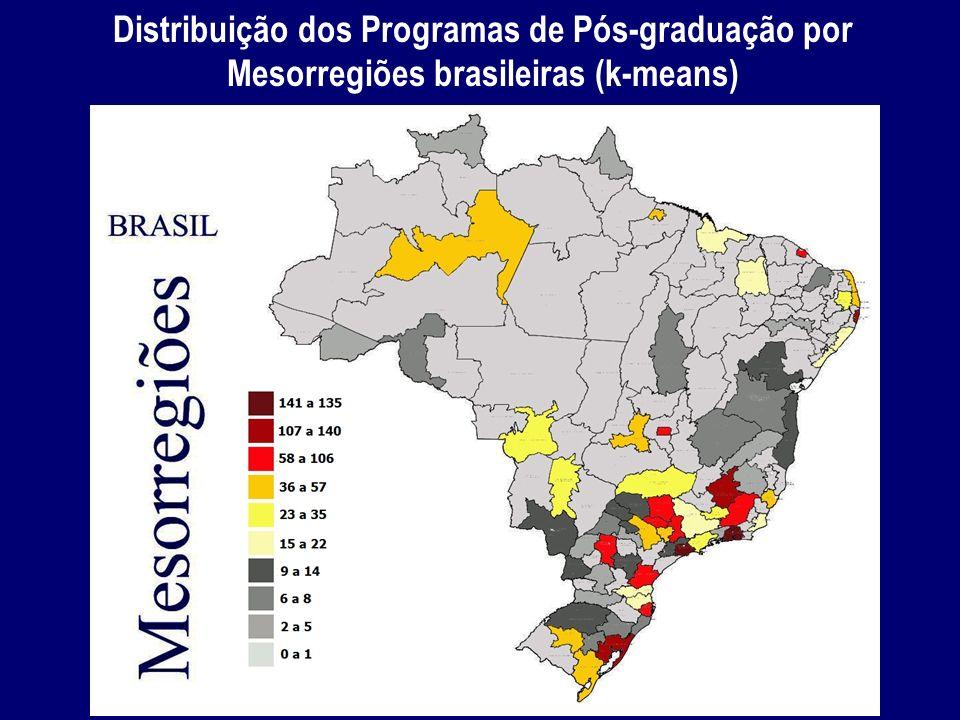 Distribuição dos Programas de Pós-graduação por Mesorregiões brasileiras (k-means)