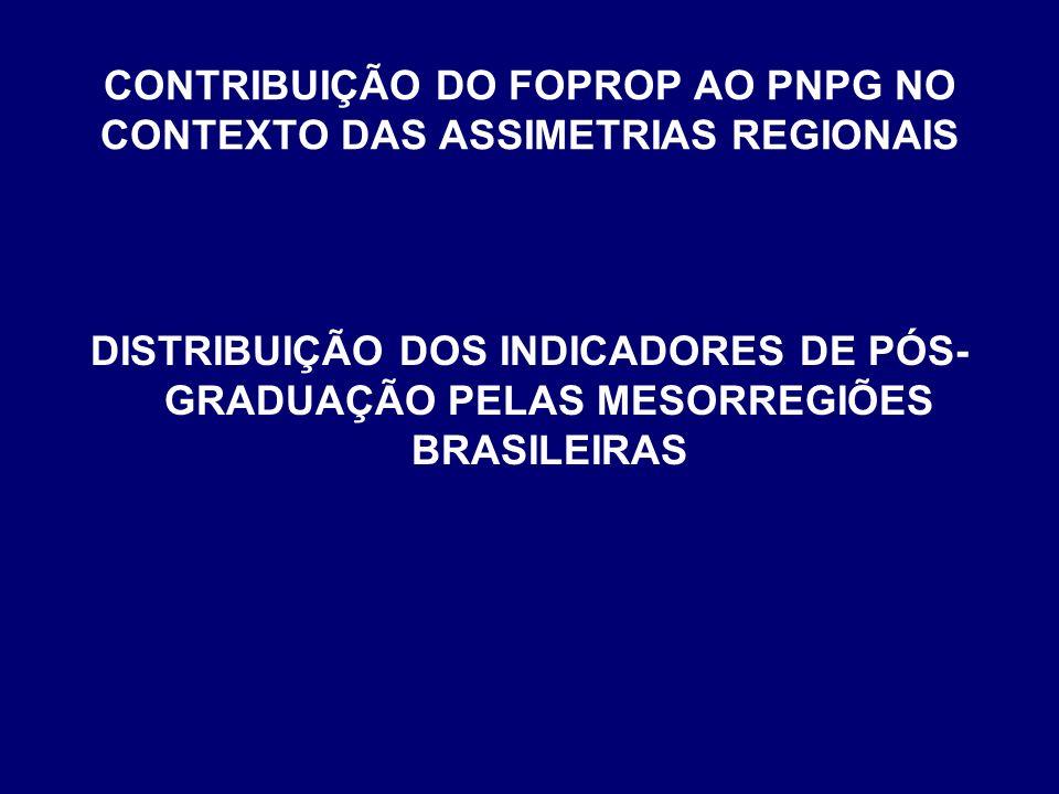 CONTRIBUIÇÃO DO FOPROP AO PNPG NO CONTEXTO DAS ASSIMETRIAS REGIONAIS DISTRIBUIÇÃO DOS INDICADORES DE PÓS- GRADUAÇÃO PELAS MESORREGIÕES BRASILEIRAS
