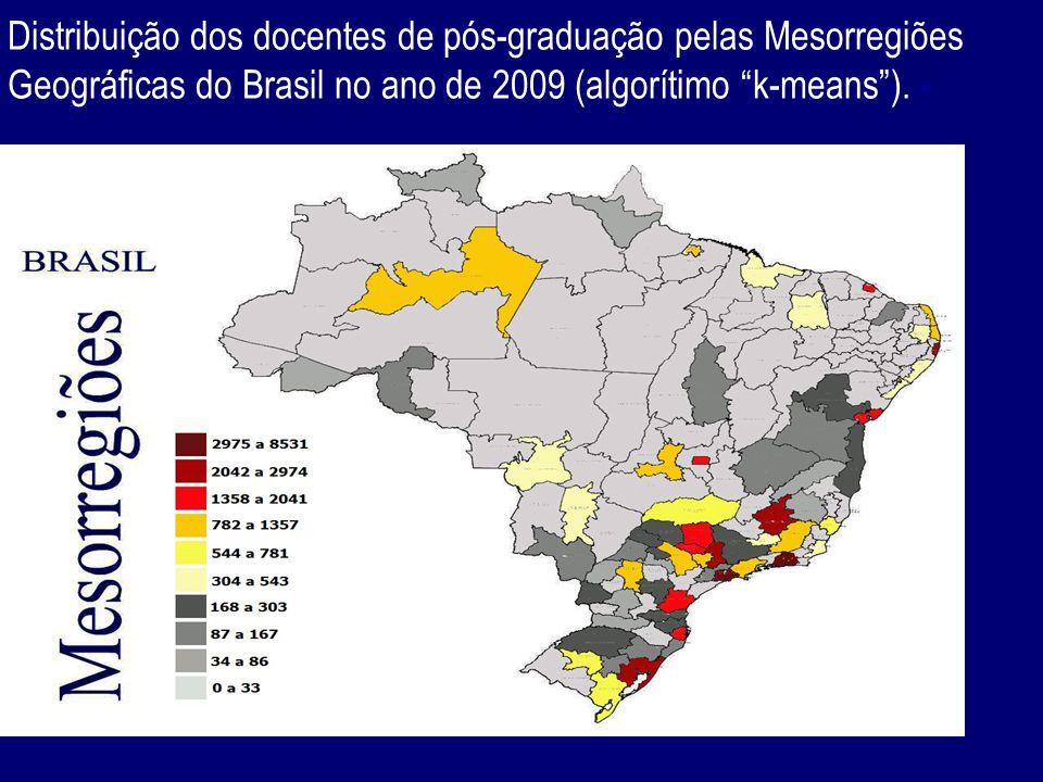 Distribuição dos docentes de pós-graduação pelas Mesorregiões Geográficas do Brasil no ano de 2009 (algorítimo k-means). -