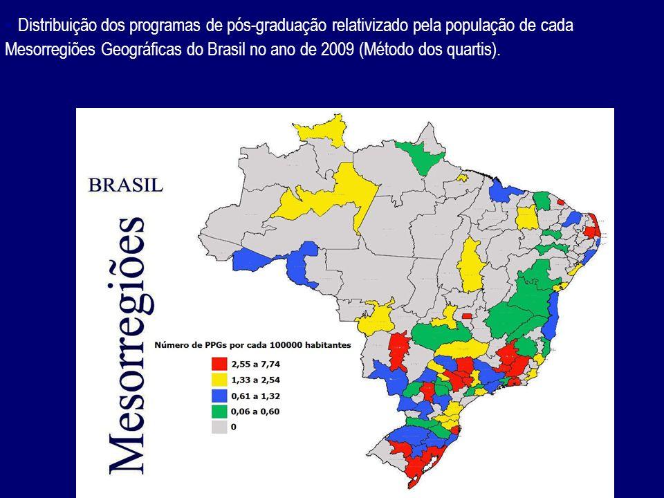 - Distribuição dos programas de pós-graduação relativizado pela população de cada Mesorregiões Geográficas do Brasil no ano de 2009 (Método dos quarti