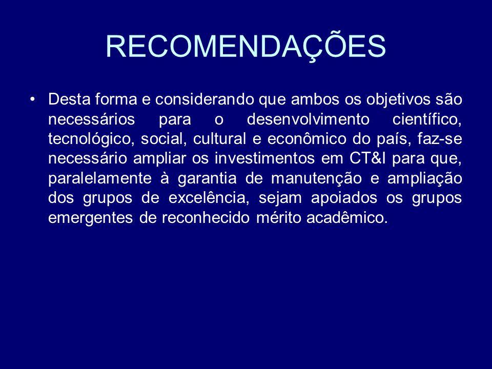 RECOMENDAÇÕES Desta forma e considerando que ambos os objetivos são necessários para o desenvolvimento científico, tecnológico, social, cultural e eco