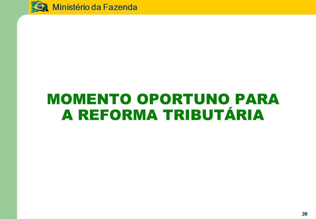 Ministério da Fazenda 36 MOMENTO OPORTUNO PARA A REFORMA TRIBUTÁRIA