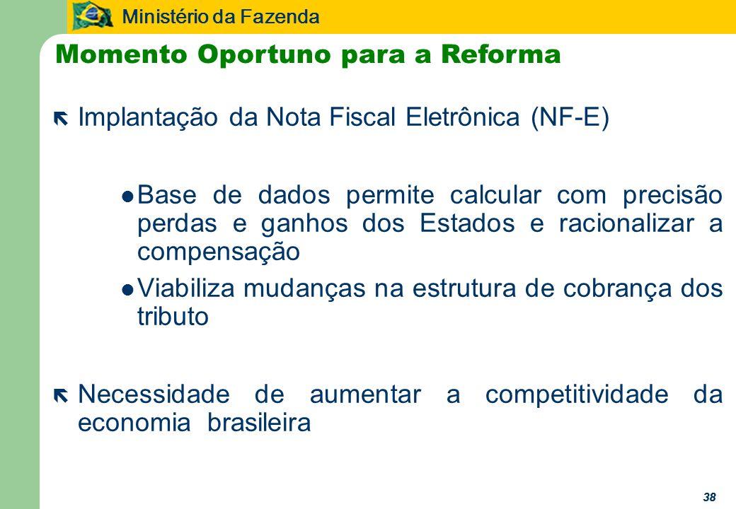 Ministério da Fazenda 38 ë Implantação da Nota Fiscal Eletrônica (NF-E) Base de dados permite calcular com precisão perdas e ganhos dos Estados e racionalizar a compensação Viabiliza mudanças na estrutura de cobrança dos tributo ë Necessidade de aumentar a competitividade da economia brasileira Momento Oportuno para a Reforma