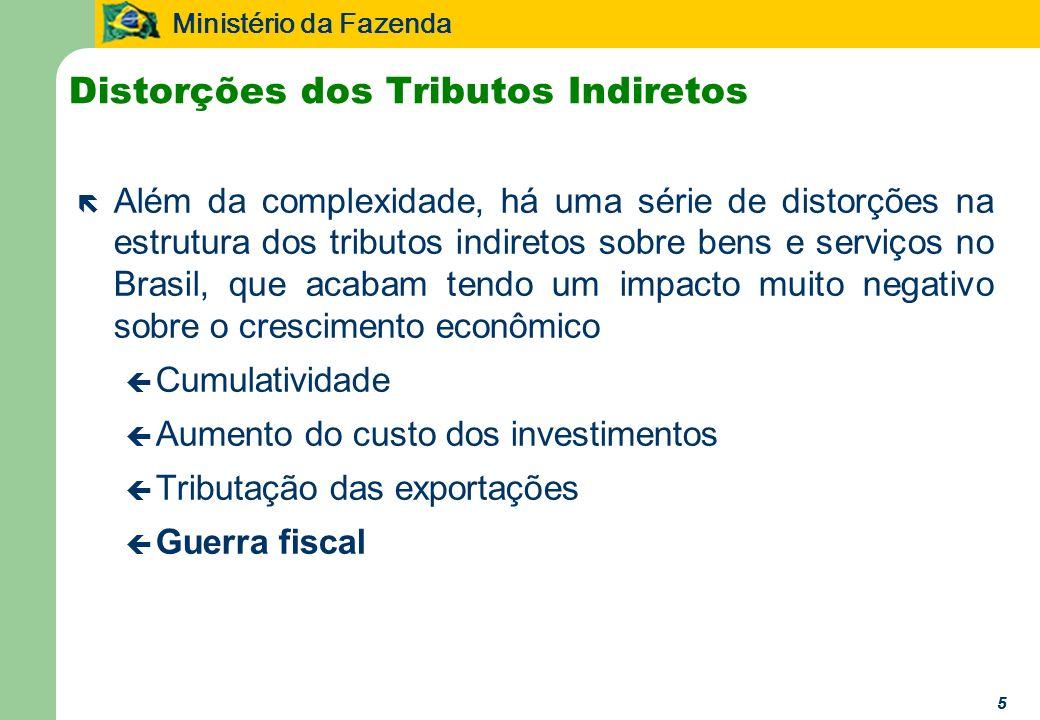 Ministério da Fazenda 66 Cumulatividade ë A incidência cumulativa gera uma série de distorções ç Organização ineficiente da estrutura produtiva ç Aumento do custo dos investimentos e das exportações