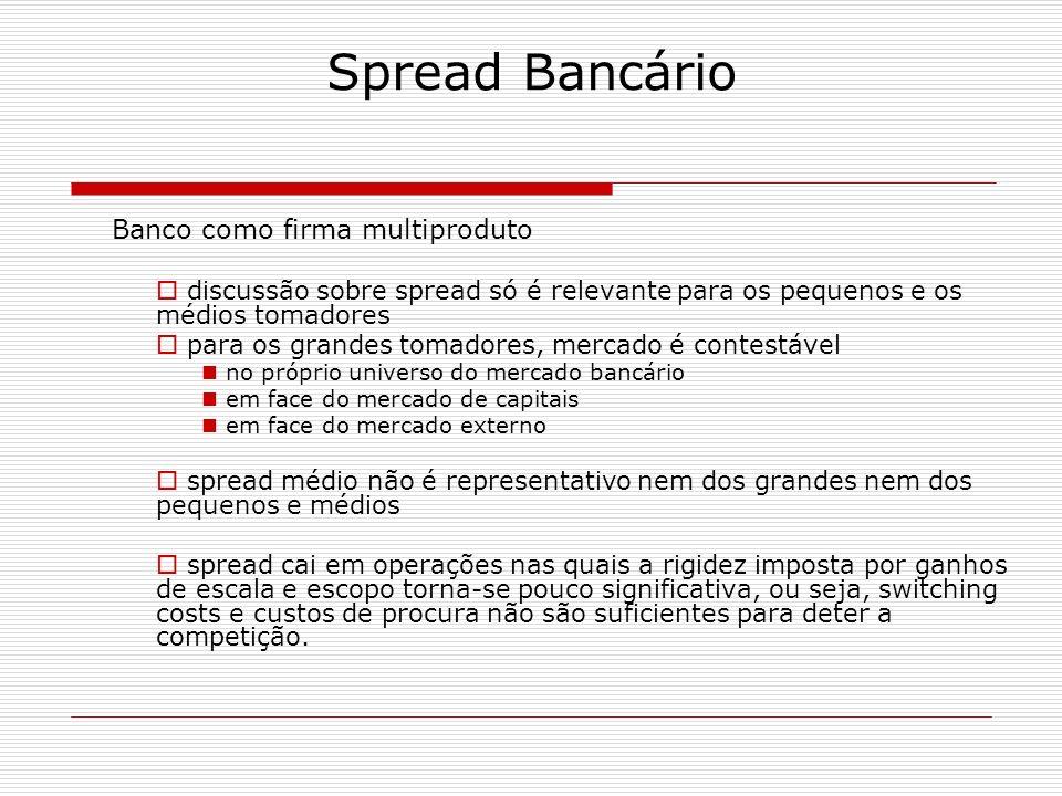 Spread Bancário Banco como firma multiproduto discussão sobre spread só é relevante para os pequenos e os médios tomadores para os grandes tomadores,