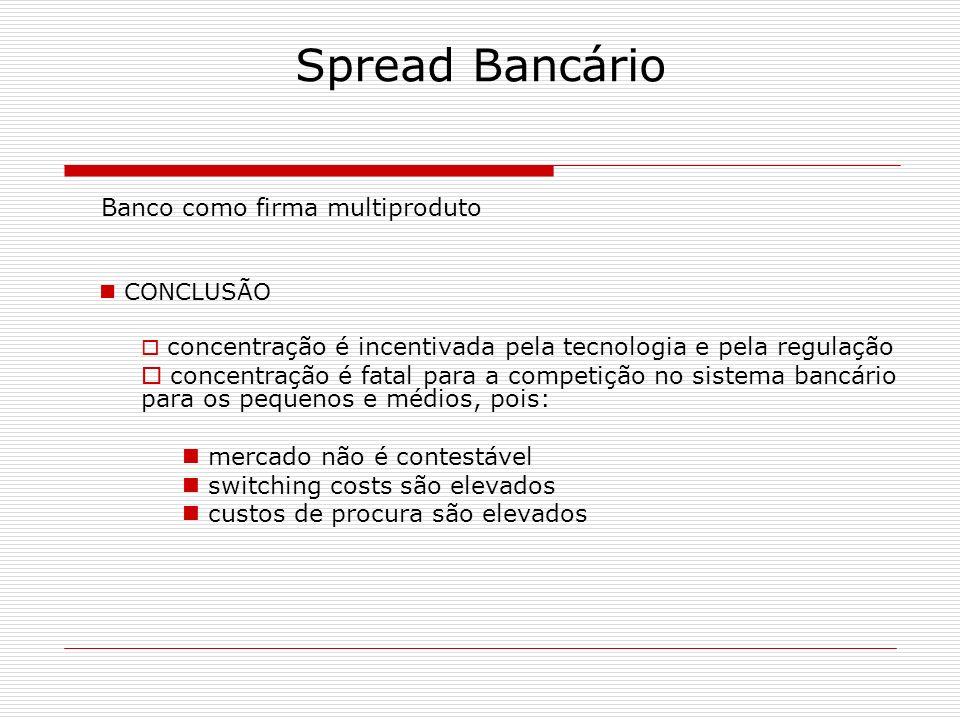 Spread Bancário Banco como firma multiproduto CONCLUSÃO concentração é incentivada pela tecnologia e pela regulação concentração é fatal para a compet