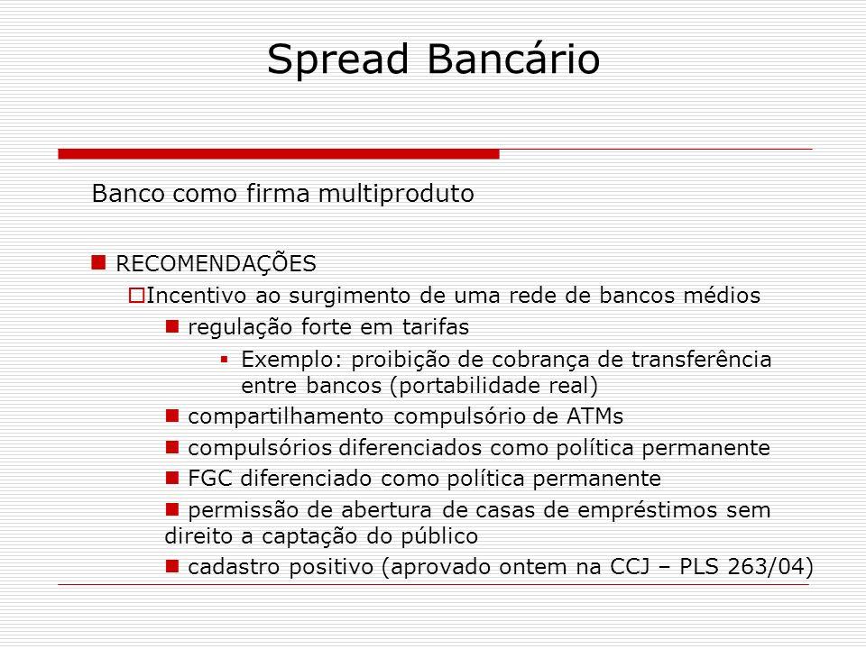 Spread Bancário Banco como firma multiproduto RECOMENDAÇÕES Incentivo ao surgimento de uma rede de bancos médios regulação forte em tarifas Exemplo: p