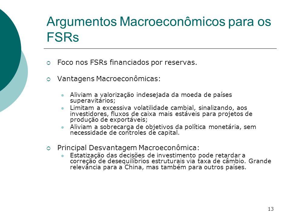 13 Argumentos Macroeconômicos para os FSRs Foco nos FSRs financiados por reservas. Vantagens Macroeconômicas: Aliviam a valorização indesejada da moed