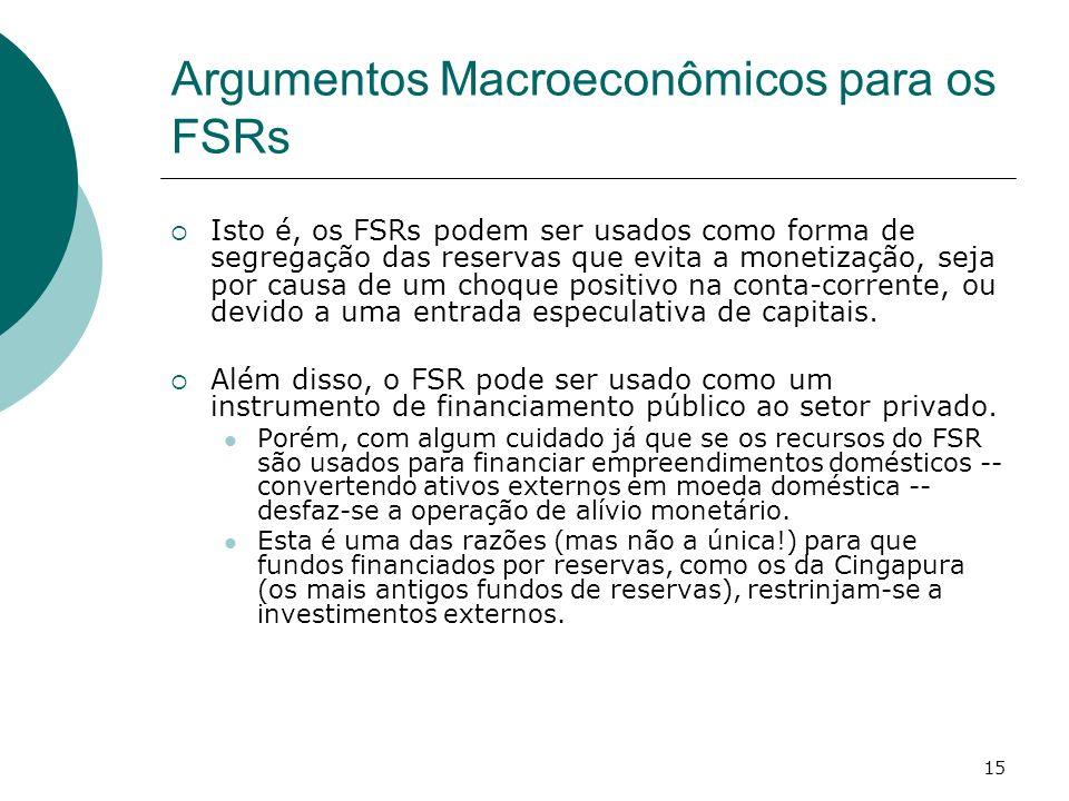 15 Argumentos Macroeconômicos para os FSRs Isto é, os FSRs podem ser usados como forma de segregação das reservas que evita a monetização, seja por ca