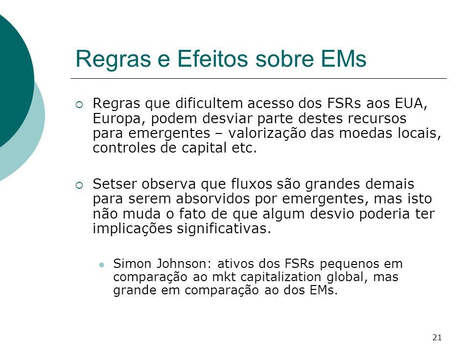 21 Regras e Efeitos sobre EMs Regras que dificultem acesso dos FSRs aos EUA, Europa, podem desviar parte destes recursos para emergentes – valorização