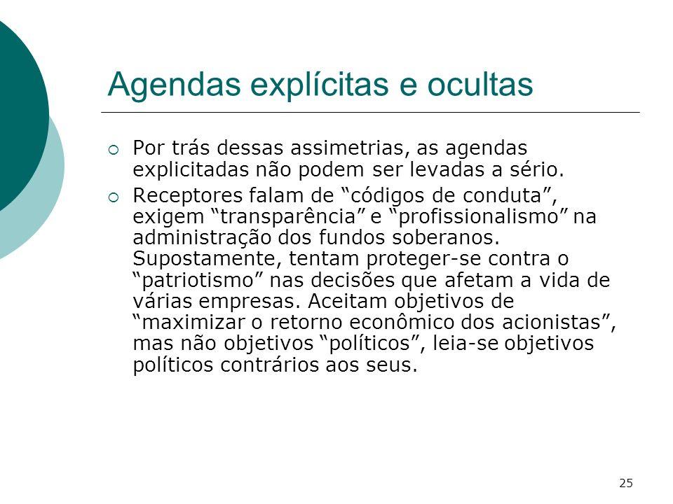 25 Agendas explícitas e ocultas Por trás dessas assimetrias, as agendas explicitadas não podem ser levadas a sério. Receptores falam de códigos de con