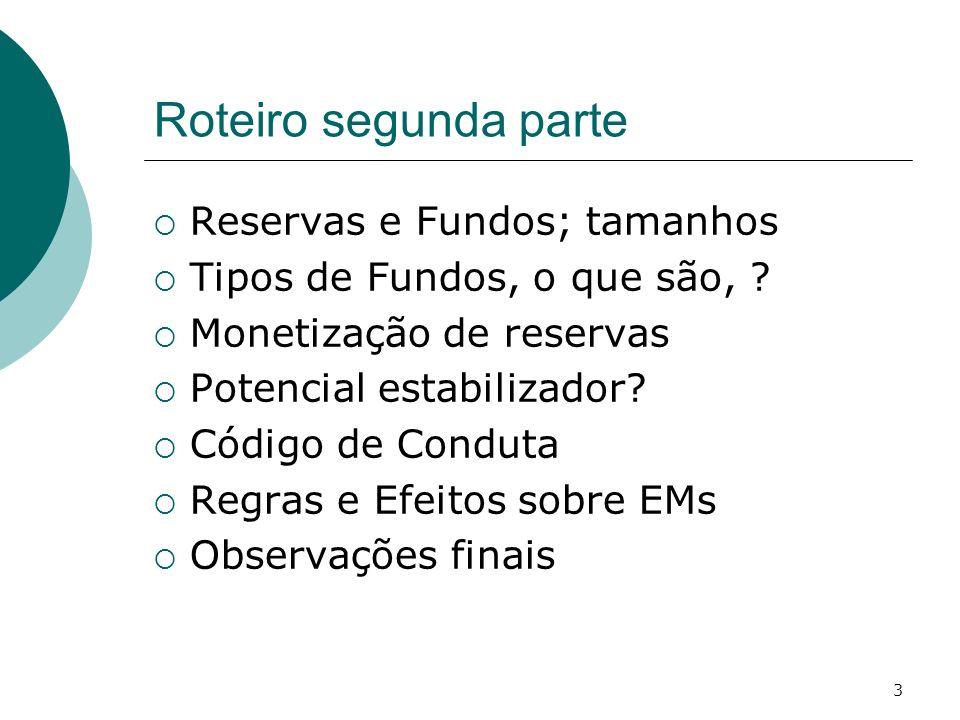 3 Roteiro segunda parte Reservas e Fundos; tamanhos Tipos de Fundos, o que são, ? Monetização de reservas Potencial estabilizador? Código de Conduta R