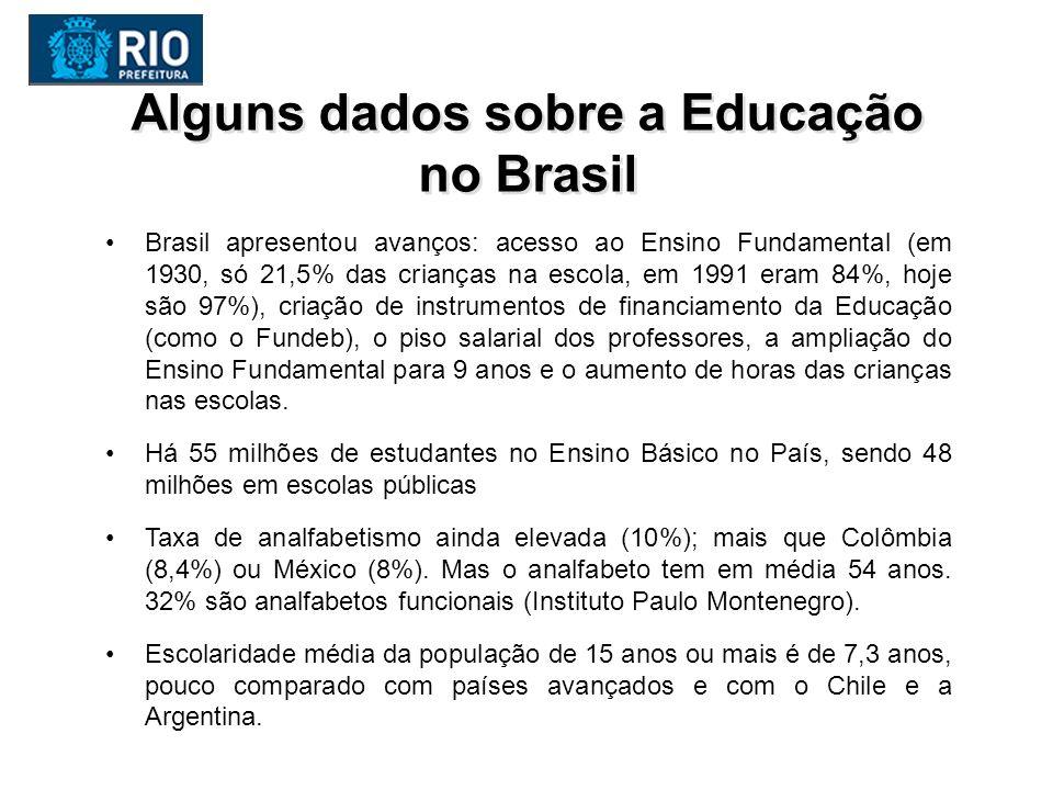 Fundação Victor Civita Alguns dados sobre a Educação no Brasil Introdução de uma cultura de avaliação no Brasil, com o SAEB, o Prova Brasil, o ENEM, a participação no PISA e o IDEB.