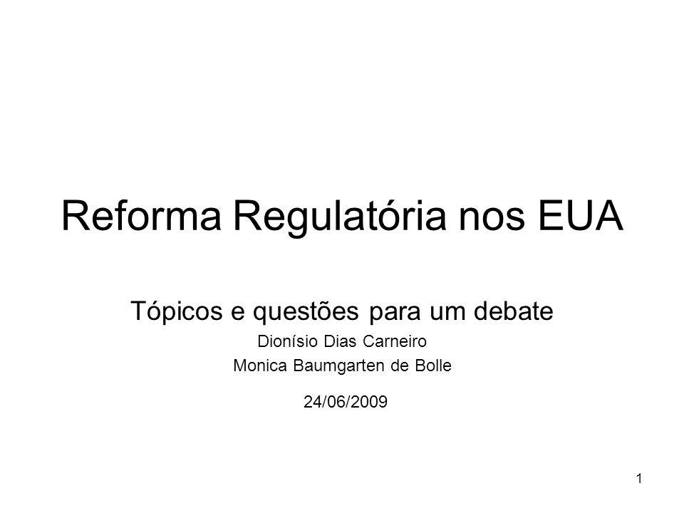 1 Reforma Regulatória nos EUA Tópicos e questões para um debate Dionísio Dias Carneiro Monica Baumgarten de Bolle 24/06/2009