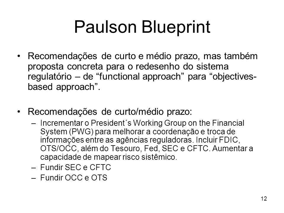 12 Paulson Blueprint Recomendações de curto e médio prazo, mas também proposta concreta para o redesenho do sistema regulatório – de functional approach para objectives- based approach.