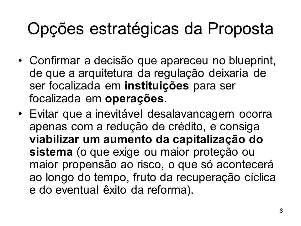 8 Opções estratégicas da Proposta Confirmar a decisão que apareceu no blueprint, de que a arquitetura da regulação deixaria de ser focalizada em instituições para ser focalizada em operações.
