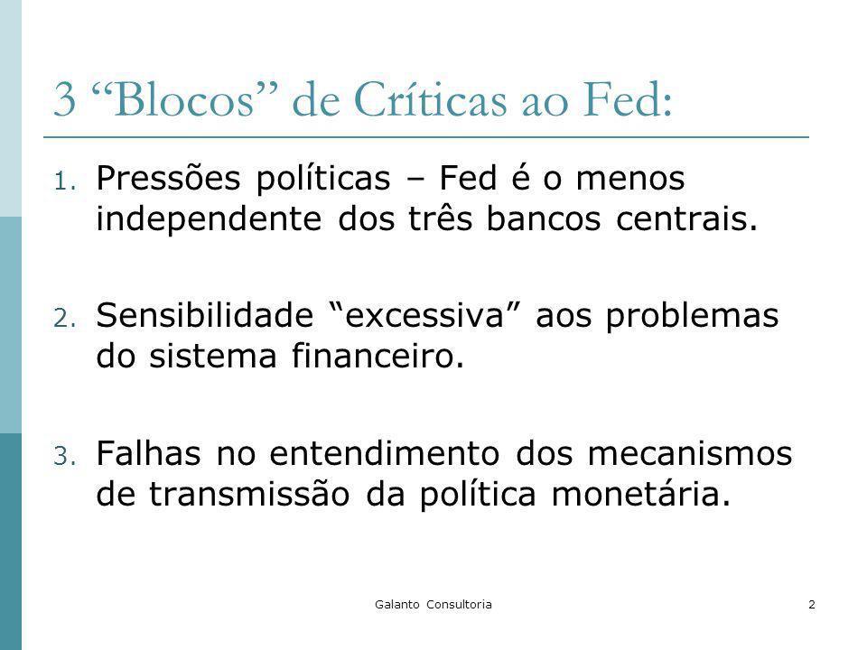 Galanto Consultoria2 3 Blocos de Críticas ao Fed: 1. Pressões políticas – Fed é o menos independente dos três bancos centrais. 2. Sensibilidade excess