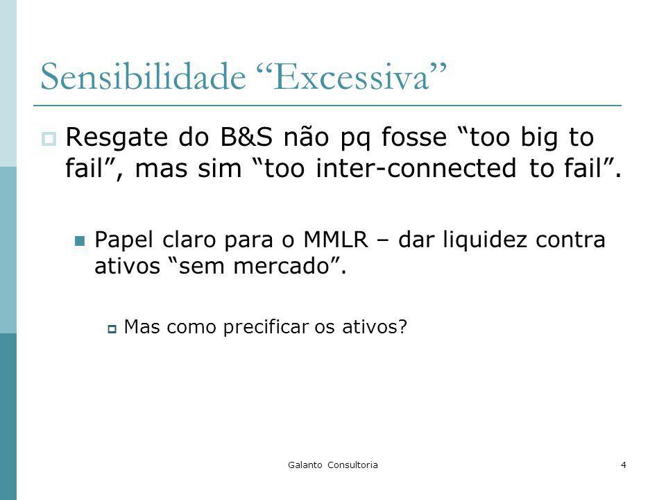 Galanto Consultoria4 Sensibilidade Excessiva Resgate do B&S não pq fosse too big to fail, mas sim too inter-connected to fail.