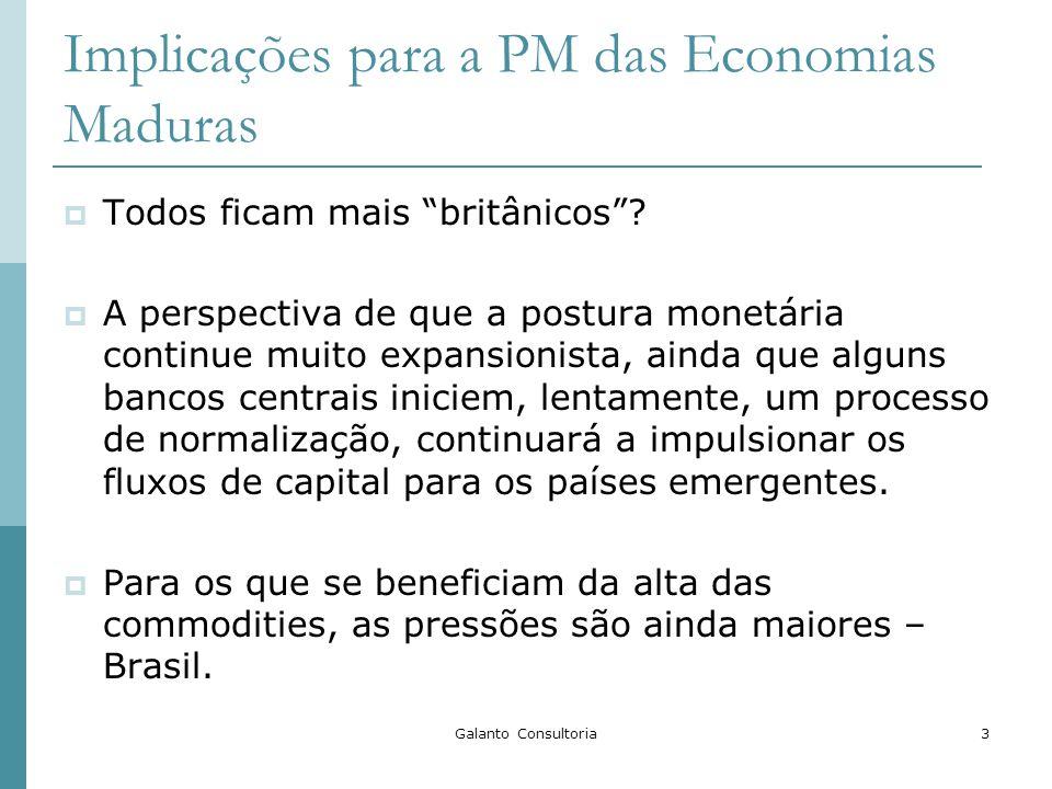 Galanto Consultoria3 Implicações para a PM das Economias Maduras Todos ficam mais britânicos? A perspectiva de que a postura monetária continue muito
