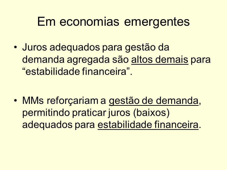 Em economias emergentes Juros adequados para gestão da demanda agregada são altos demais para estabilidade financeira. MMs reforçariam a gestão de dem