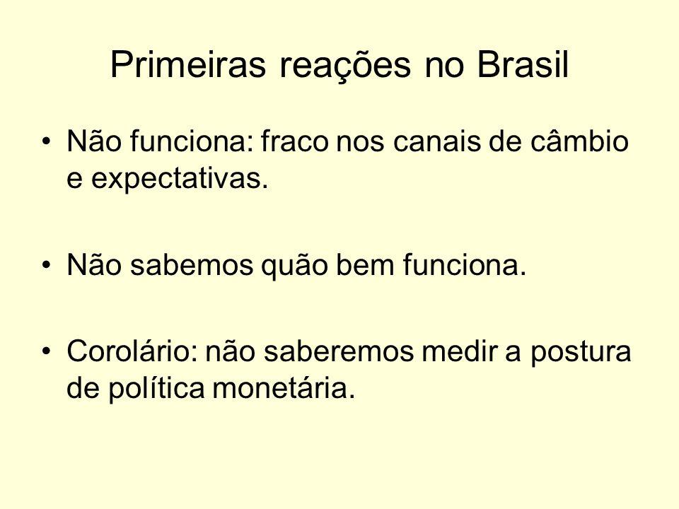 Primeiras reações no Brasil Não funciona: fraco nos canais de câmbio e expectativas. Não sabemos quão bem funciona. Corolário: não saberemos medir a p