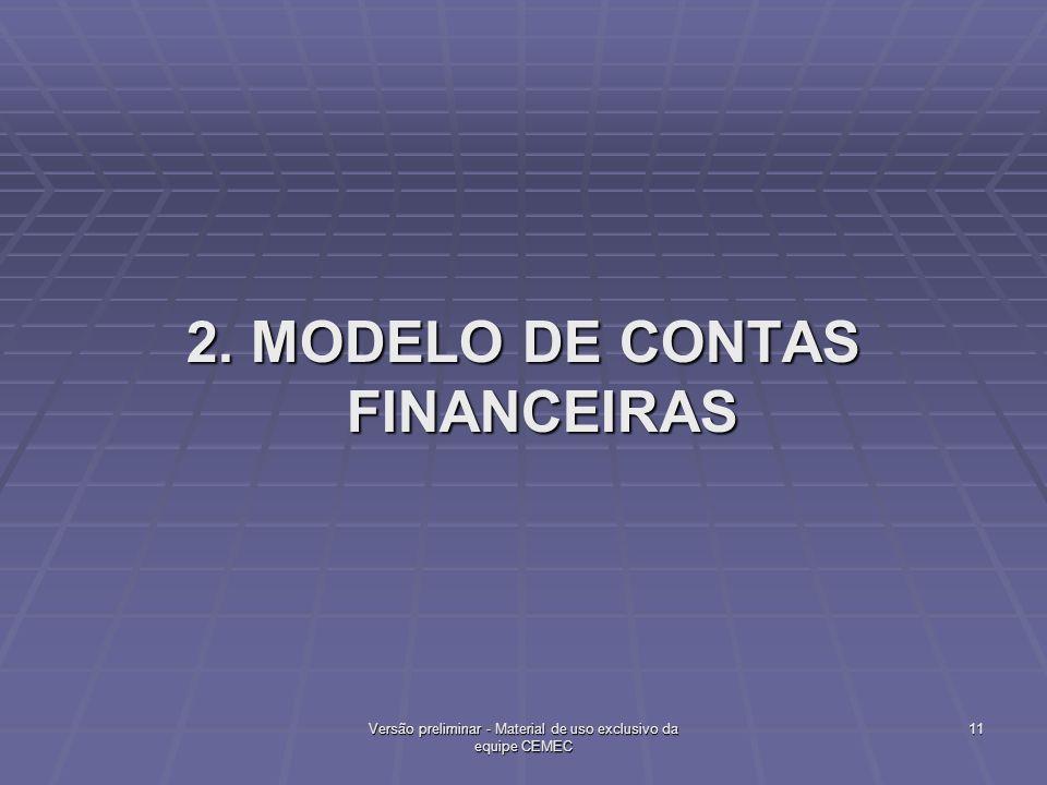 2. MODELO DE CONTAS FINANCEIRAS 11Versão preliminar - Material de uso exclusivo da equipe CEMEC