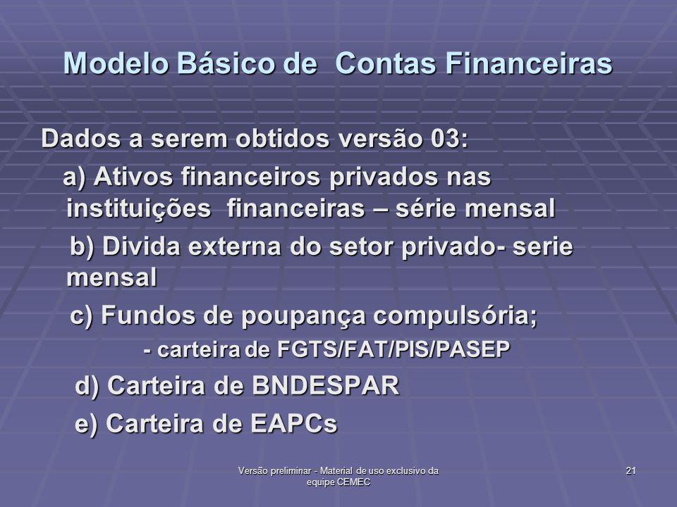 Modelo Básico de Contas Financeiras Dados a serem obtidos versão 03: a) Ativos financeiros privados nas instituições financeiras – série mensal a) Ati