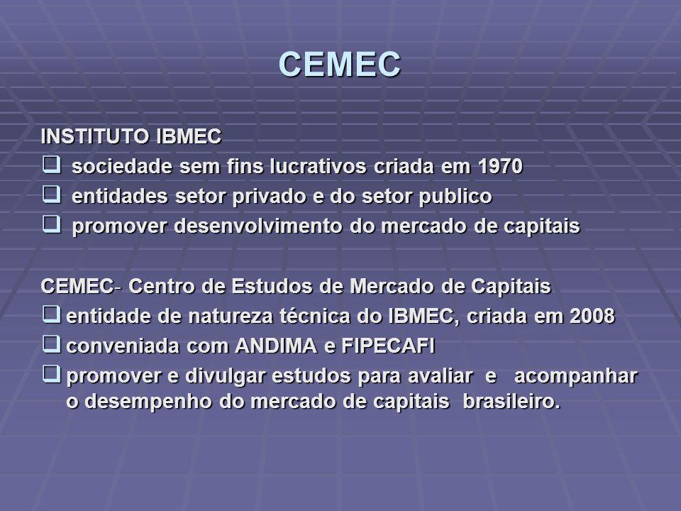 CEMEC INSTITUTO IBMEC sociedade sem fins lucrativos criada em 1970 sociedade sem fins lucrativos criada em 1970 entidades setor privado e do setor pub