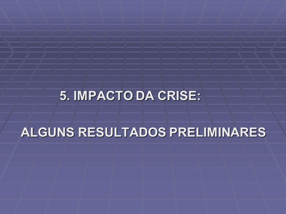 5. IMPACTO DA CRISE: 5. IMPACTO DA CRISE: ALGUNS RESULTADOS PRELIMINARES ALGUNS RESULTADOS PRELIMINARES