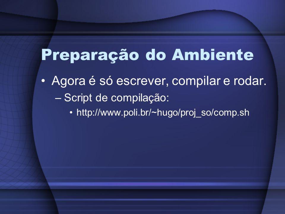 Preparação do Ambiente Agora é só escrever, compilar e rodar. –Script de compilação: http://www.poli.br/~hugo/proj_so/comp.sh