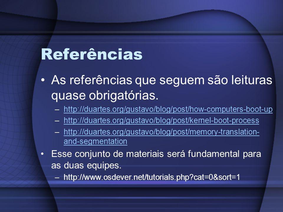 Referências As referências que seguem são leituras quase obrigatórias. –http://duartes.org/gustavo/blog/post/how-computers-boot-uphttp://duartes.org/g
