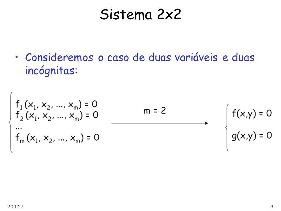 2007.23 Sistema 2x2 Consideremos o caso de duas variáveis e duas incógnitas: