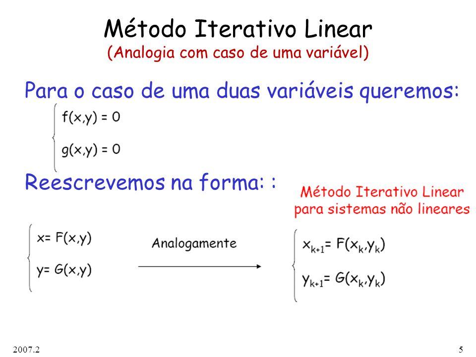 2007.26 MIL para Sistemas Não Lineares (Convergência) Condições suficientes (mas não necessárias) para convergência: a) F,G e suas derivadas parciais de primeira ordem são contínuas numa vizinhança V da raiz (x,y) b) As seguintes desigualdades são satisfeitas:  Fx  +  Gx  k 1 < 1  Fy  +  Gy  k 2 < 1 para todo ponto (x,y) pertencente à vizinhança V.