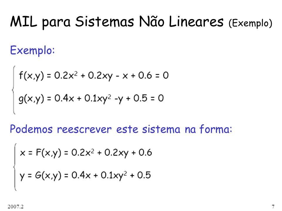2007.27 MIL para Sistemas Não Lineares (Exemplo) Exemplo: Podemos reescrever este sistema na forma: