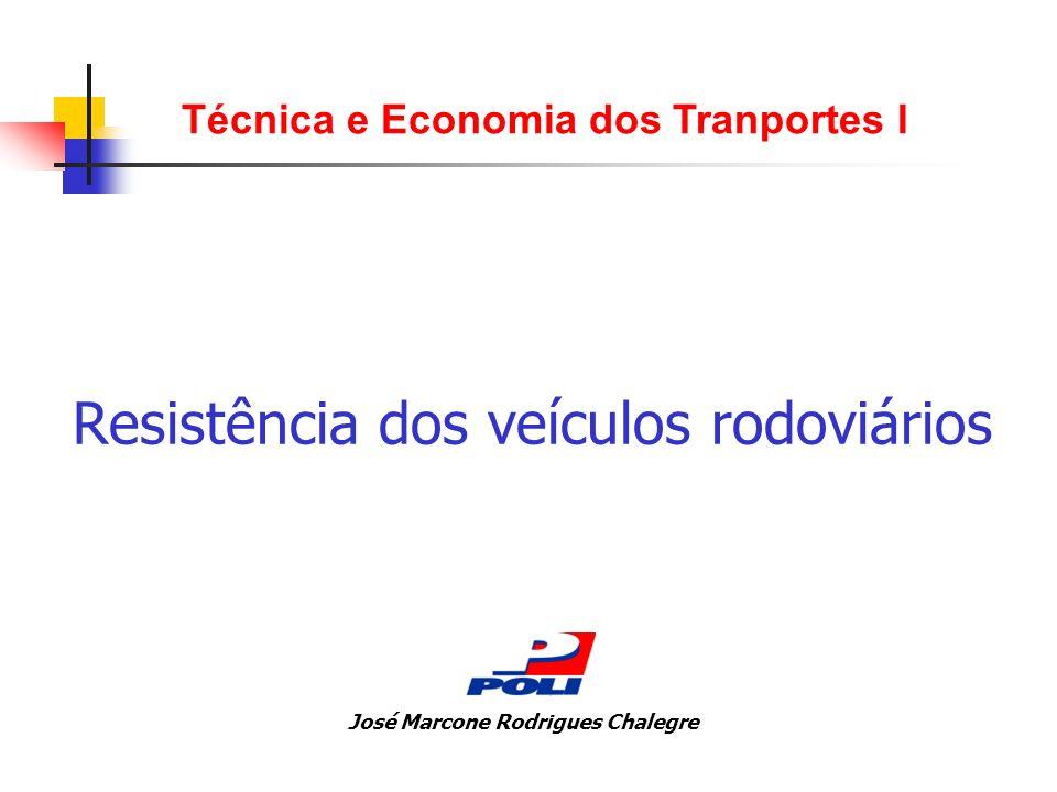 Resistência dos veículos rodoviários Técnica e Economia dos Tranportes I José Marcone Rodrigues Chalegre