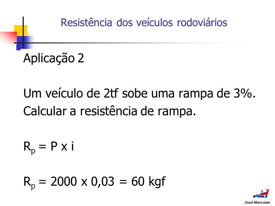 Resistência dos veículos rodoviários Aplicação 2 Um veículo de 2tf sobe uma rampa de 3%. Calcular a resistência de rampa. R p = P x i R p = 2000 x 0,0