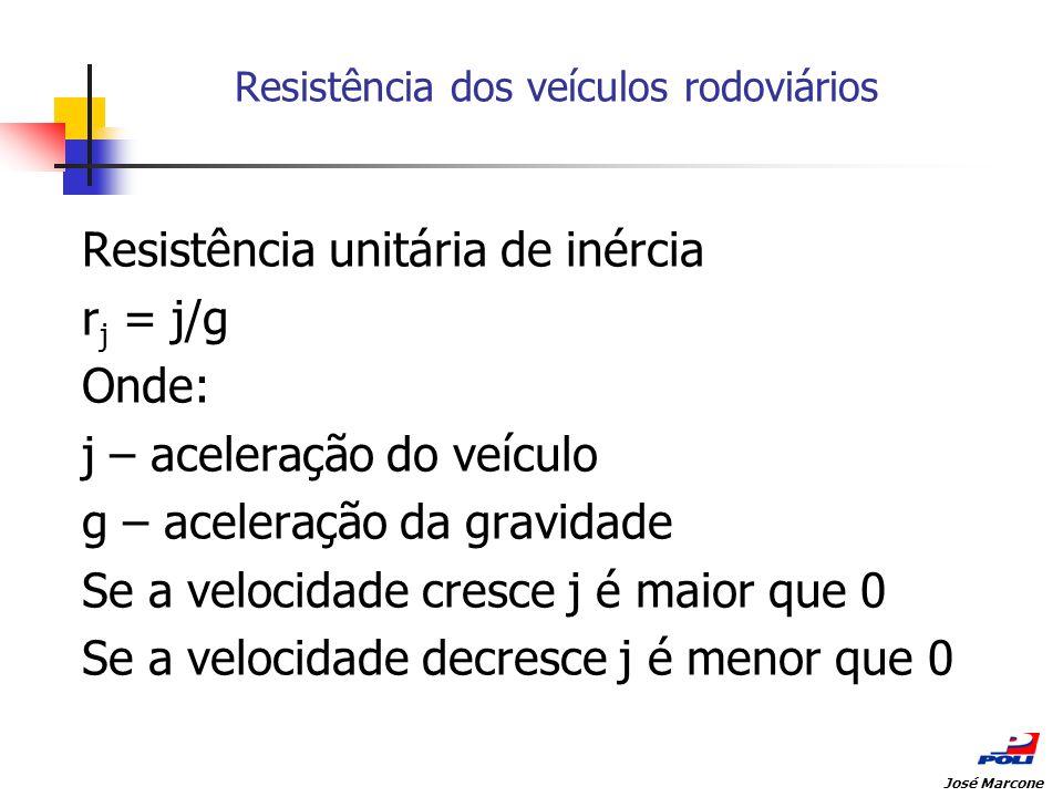 Resistência dos veículos rodoviários Resistência unitária de inércia r j = j/g Onde: j – aceleração do veículo g – aceleração da gravidade Se a veloci