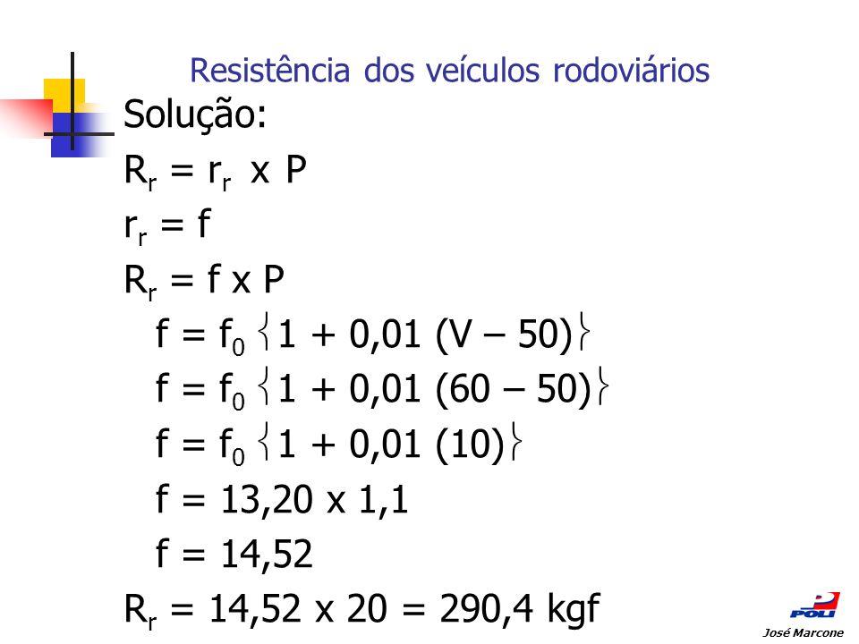 Resistência dos veículos rodoviários Solução: R r = r r x P r r = f R r = f x P f = f 0 1 + 0,01 (V – 50) f = f 0 1 + 0,01 (60 – 50) f = f 0 1 + 0,01