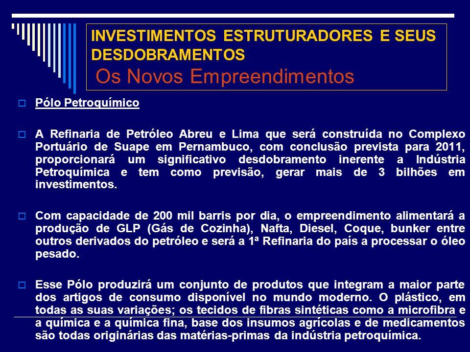 INVESTIMENTOS ESTRUTURADORES E SEUS DESDOBRAMENTOS Os Novos Empreendimentos Pólo Petroquímico A Refinaria de Petróleo Abreu e Lima que será construída no Complexo Portuário de Suape em Pernambuco, com conclusão prevista para 2011, proporcionará um significativo desdobramento inerente a Indústria Petroquímica e tem como previsão, gerar mais de 3 bilhões em investimentos.
