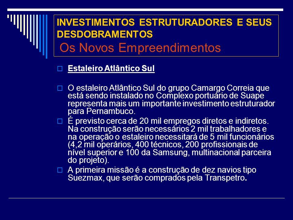INVESTIMENTOS ESTRUTURADORES E SEUS DESDOBRAMENTOS Os Novos Empreendimentos Estaleiro Atlântico Sul O estaleiro Atlântico Sul do grupo Camargo Correia que está sendo instalado no Complexo portuário de Suape representa mais um importante investimento estruturador para Pernambuco.