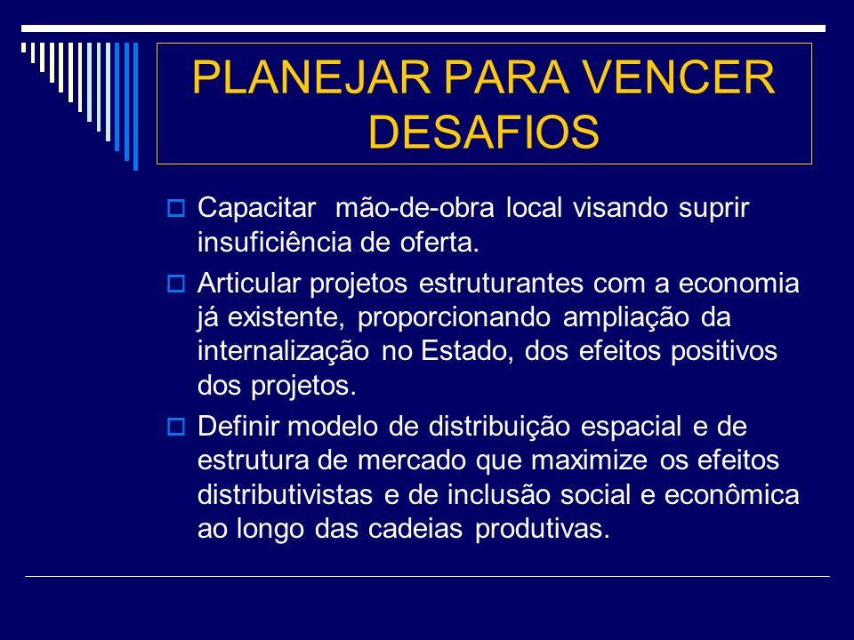 PLANEJAR PARA VENCER DESAFIOS Capacitar mão-de-obra local visando suprir insuficiência de oferta.