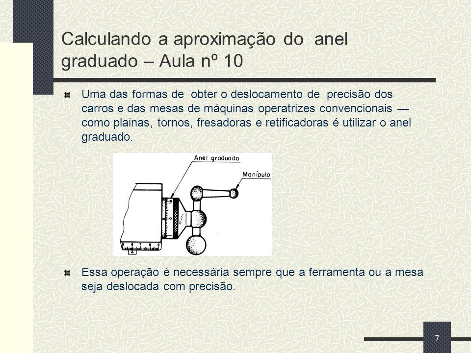 Calculando a aproximação do anel graduado – Aula nº 10 Uma das formas de obter o deslocamento de precisão dos carros e das mesas de máquinas operatriz