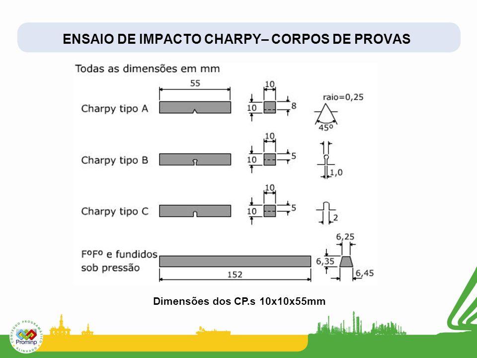 ENSAIO DE IMPACTO CHARPY– CORPOS DE PROVAS Dimensões dos CP.s 10x10x55mm