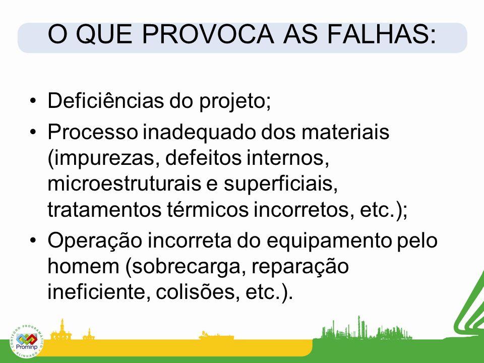 O QUE PROVOCA AS FALHAS: Deficiências do projeto; Processo inadequado dos materiais (impurezas, defeitos internos, microestruturais e superficiais, tr