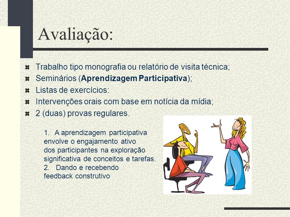 Avaliação: Trabalho tipo monografia ou relatório de visita técnica; Seminários (Aprendizagem Participativa); Listas de exercícios: Intervenções orais